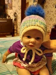 теплая двойная шапочка для малыша