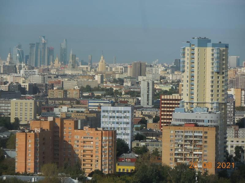 Москва Сити в дымке