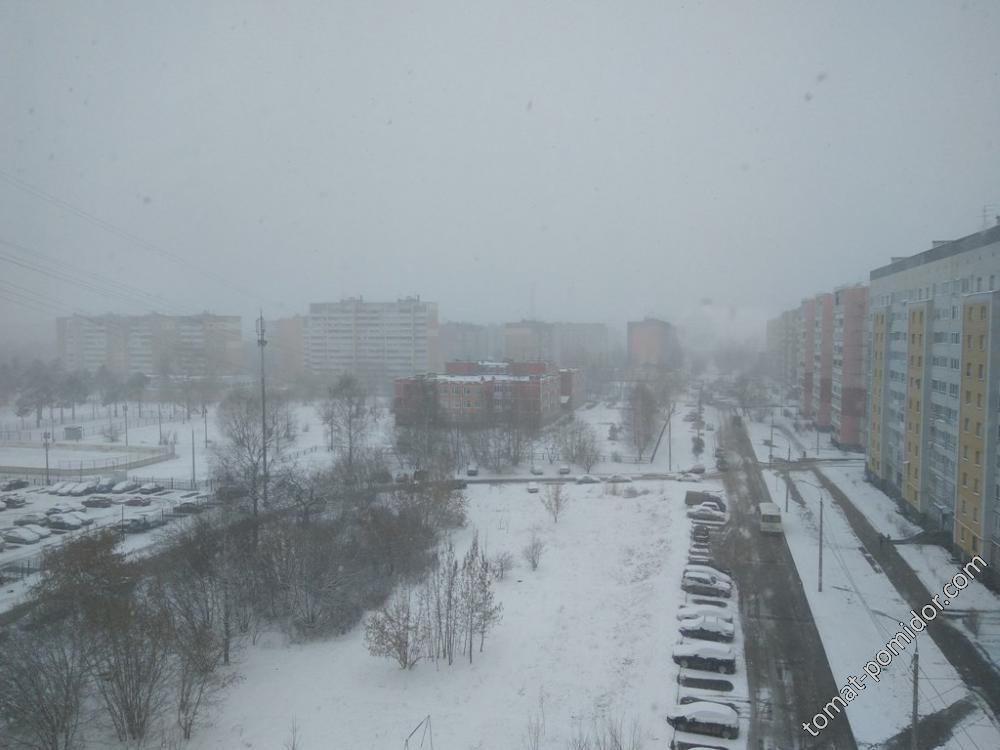 Зима в апреле в городе