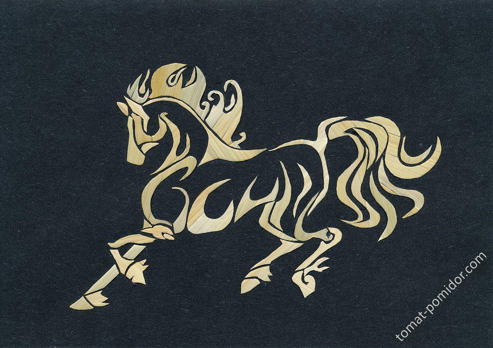 Картинка из соломки. Конь